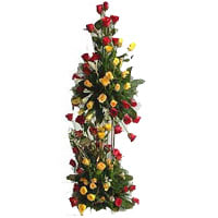 Brilliant Tower Arrangement of Mixed Roses