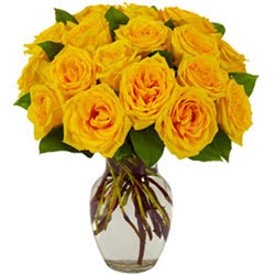 Delightful Yellow Roses in a Glass Vase