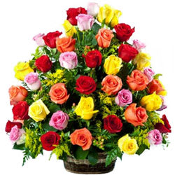 Fragrant Arrangement of  Multicoloured Roses in Basket