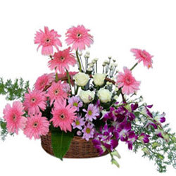 Vibrant Mixed Flowers Basket Arrangement