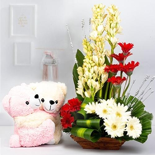 Expressive Mixed Flowers Arrangement with Cute Teddy