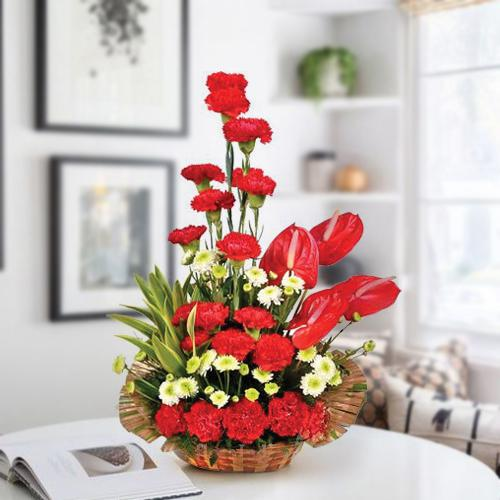 Lovely Arrangement of Red Carnations n Anthurium