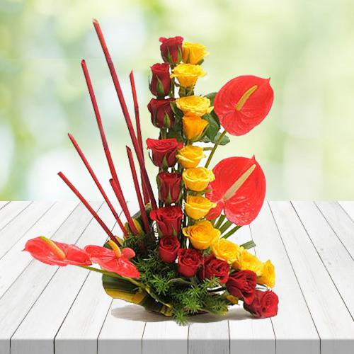 Exquisite Arrangement of Red N Yellow Roses with Anthurium