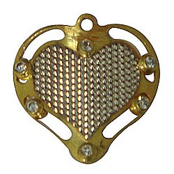 Unique Gold Tone Metal Heart Shaped Pendant with Mesh