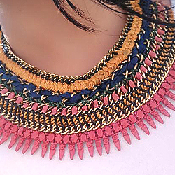 Creative Present of Embroidered Pendent with Cotton Braided Necklace