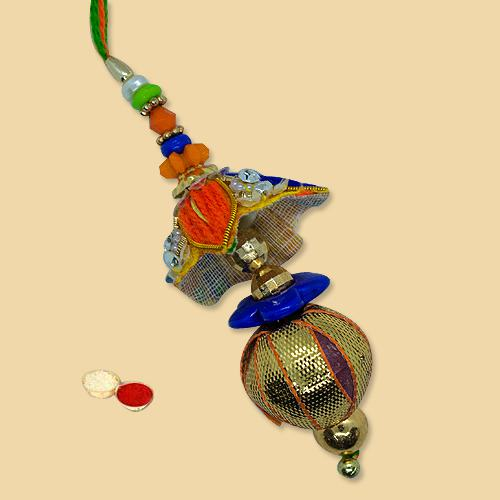 Admirable Antique Design Lumba with free Roli Tilak and Chawal for your Dear Bhabhi