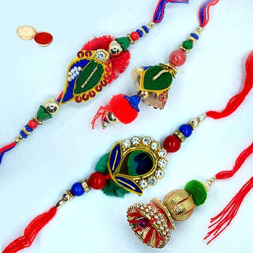 Attractive 2 Pair of Rakhi n Lumda Set for your Dear Bhaiya Bhabhi