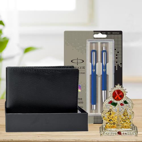 Classy Parker Pen Set with a Rich Borns Black Leather Wallet n Laxmi Ganesh Mandap
