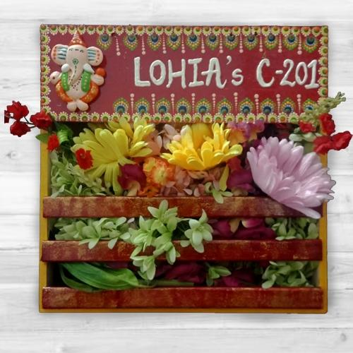 Aesthetic Handmade Dot Mandala Art Ganesha Personalized Nameplate with Art Flower Decor