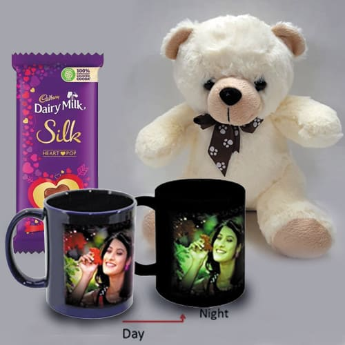 Wonderful Personalized Photo Radium Mug with Teddy n Heart Chocolates