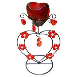 Stunning Red Wrought Iron Candle Stand Gift