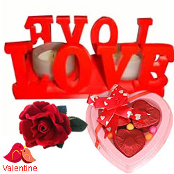 Love Candle Stand Gift with 2 Candles with a 3 pcs Heart Shaped Hand Made Chocolate & a Free Velvet Rose