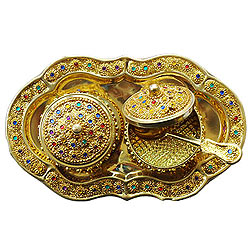 Designer Colorful Stone engraved 2pcs Golden Supari Dabbi and Tray Set