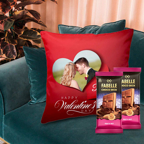 Beautiful Personalized Cushion with ITC Fabelle Chocolate Twin Bars
