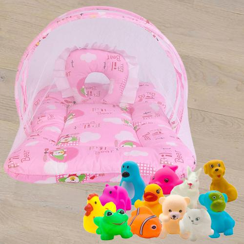 Exclusive Mattress with Mosquito Net N Animal Water Toys<br><br>