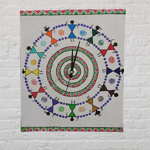 Attractive Handmade Warli Art Wall Clock