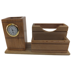 Distinctive 2-in-1 Wooden Pen Stand