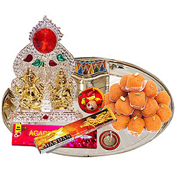 Ganesh Lakshmi Idols with Silver Plated Thali and Pure Ghee Ladoo