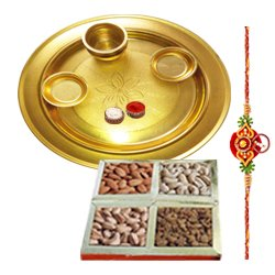 Fantastic Rakhi Collection of Gold Plated Thali and Dry Fruits Gift Set with Free Rakhi Roli Tilak and Chawal