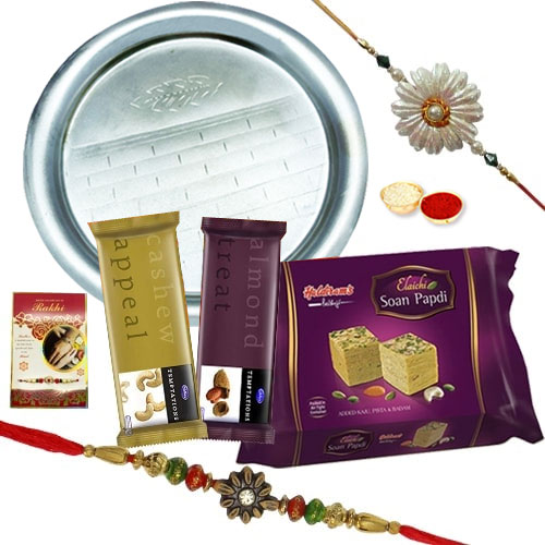 Delicious Sweets, Silver Plated Thali and Chocolates Rakhi Gift Hamper