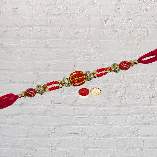 Outstanding Rakhi Special Thread Rakhi with Roli Tilak and Chawal for your Dear Brother