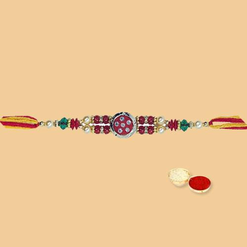 Extravagant Rakhi Special Gift of Beautiful Rakhi with free Roli Tilak and Chawal for your Dear Brother