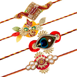 Impressive 4 Pieces Rakhi Set with Free Roli Tilak and Chawal for your Precious Brother on the Occasion of Rakhi