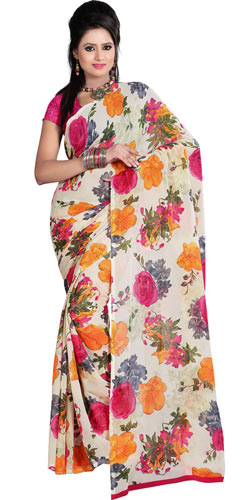 Eye-Catching Off White and Pink Coloured Saree with Floral Print Design