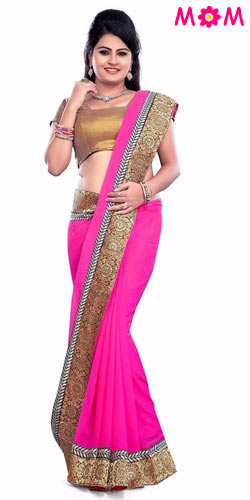 Attractive Pink Coloured Georgette Printed Saree