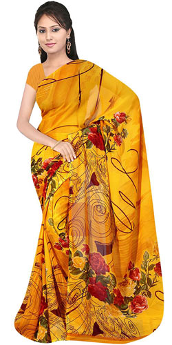 Dazzling Women�s Georgette Printed Saree from Suredeal