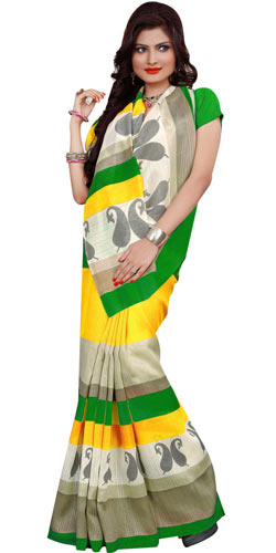 Chic Crepe and Chiffon Printed Saree from Rainbow