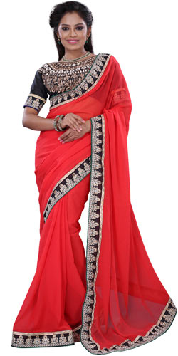 Superb Orange Crepe Saree in Gorgeous Designed