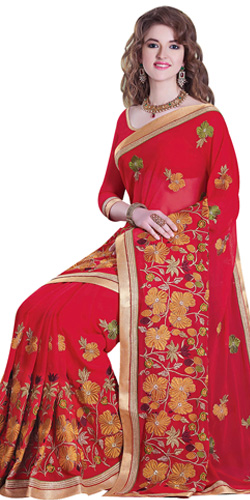 Marvelous Embroidered Tussar Silk Saree