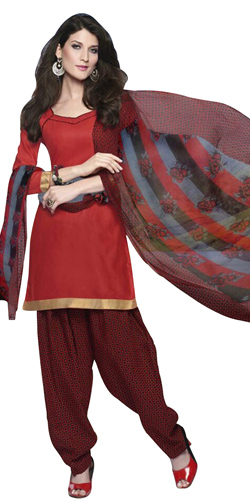 Extravagant Cotton Printed Patiala Suit Coloured in Red and Maroon