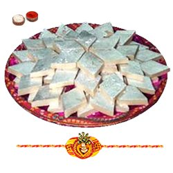 Charming Rakhi Special Gift of Badam Katli from Haldiram with free Rakhi, Roli Tilak and Chawal for your Dear Brother