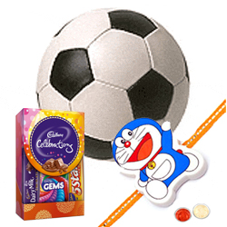 Football and Kids Rakhi, Cadbury Celebration Mini with Free Roli Tilak and Chawal