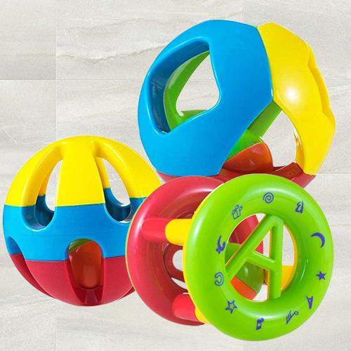 Marvelous Rattle Set of 3 Shake and Grab Ball for Kids