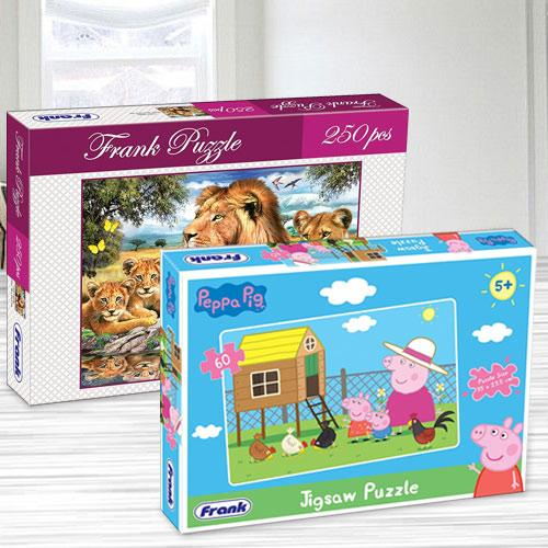 Marvelous Frank Peppa Pig N Lion Family Puzzle Set
