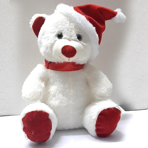 Wonderful Teddy with Red Santa Claus Cap