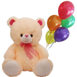 Sweet Communication Love Teddy with Balloons