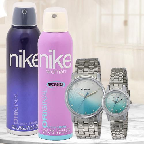 Wonderful Sonata Analog Couple Watch N Nike Dual Deo Set