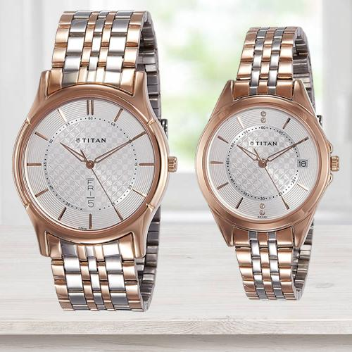 Remarkable Titan Analog Silver Dial Couples Watch