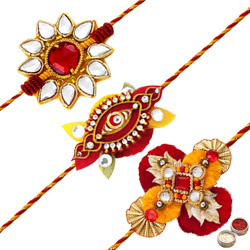 Fascinating Rakhi Special 3 Pieces Zardozi Rakhi with Free Roli Tilak and Chawal for your Dear Brother