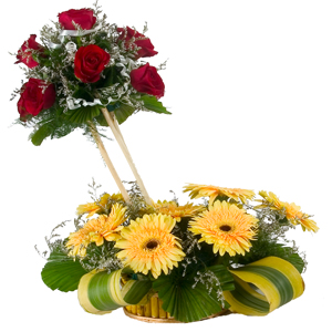 Stunning 7 Roses and 8 Gerberas Designer Arrangement with Bountiful Joys